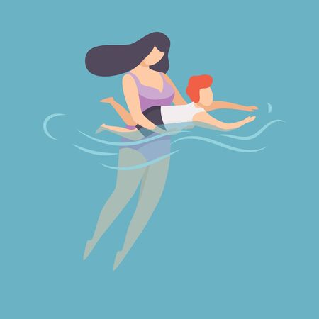 Mother Teaching To Swim Her Little Son, Happy Mom and Son Relaxing in the Sea, Ocean or Swimming Pool at Summer Vacation Vector Illustration, Flat Style.
