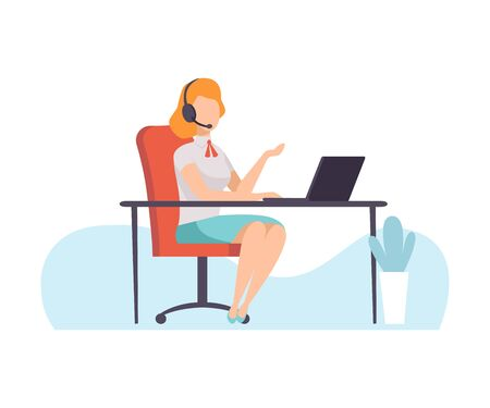 Female Call Center Worker, Online Support Service Assistant Talking Online with Headphones, Distant Education Courses, Social Networking, People Communicating Via Internet Vector Illustration Illustration