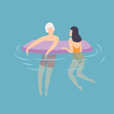 Young Couple Floating on Air Mattress, Young Man and Woman Relaxing in the Sea, Ocean or Swimming Pool at Summer Vacation Vector Illustration, Flat Style. Stock Illustratie
