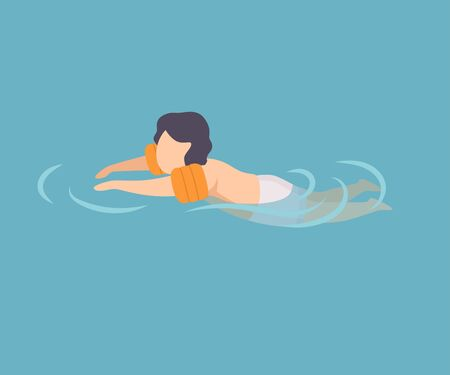 Cute Boy Swimming in Water Wearing Inflatable Armbands, Kid Performing Summer Outdoor Water Activities at Summertime Vector Illustration, Flat Style. Stock Illustratie