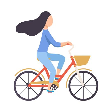 Brunette Woman in Casual Clothes Riding Bicycle, Cycling Girl Exercising, Relaxing or Going to Work Vector Illustration on White Background.