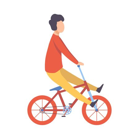 Young Man in Casual Clothes Riding Bicycle Vector Illustration on White Background.
