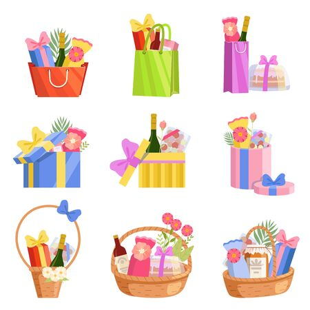 Holiday Presents Set, Colorful Paper Shopping Bags, Baskets and Boxes Full of Gifts, Design Elements for Birthday, Xmas, Wedding, Anniversary Celebration Vector Illustration on White Background. Illustration