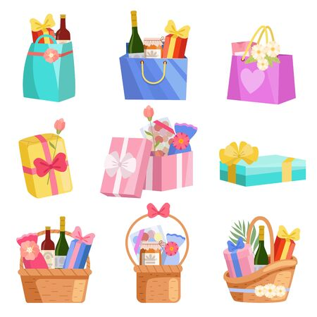 Holiday Presents Set, Paper Shopping Bags, Baskets and Boxes Full of Gifts, Design Elements for Birthday, Xmas, Wedding, Anniversary Celebration Vector Illustration on White Background.