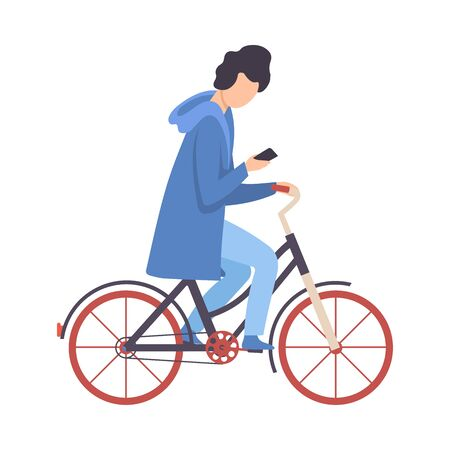 Young Man Using Smartphone While Riding Bicycle, Cycling Guy Exercising, Relaxing or Going to Work Vector Illustration