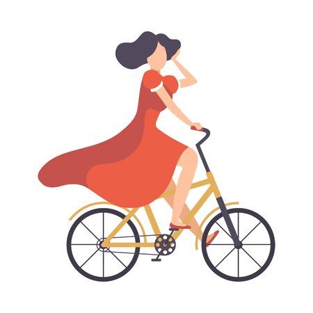 Young Woman in Red Dress Riding Bicycle, Cycling Girl Relaxing or Going to Work Vector Illustration on White Background. Illustration