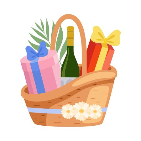 Present Basket Full of Gifts and Alcohol Bottle, Birthday, Xmas, Wedding, Anniversary Celebration Design Element Vector Illustration on White Background. Иллюстрация