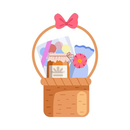 Present Basket Full of Gifts, Birthday, Xmas, Wedding, Anniversary Celebration Design Element Vector Illustration on White Background.