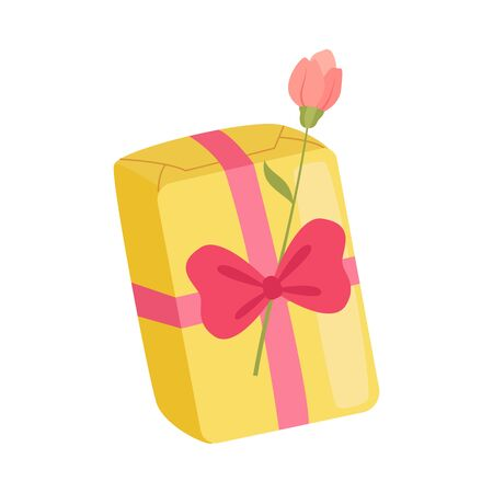 Festive Holiday Yellow Gift Box with Overwhelming Bow and Rose Flower, Present Package for Birthday, Xmas, Wedding, Anniversary Celebration Vector Illustration on White Background.