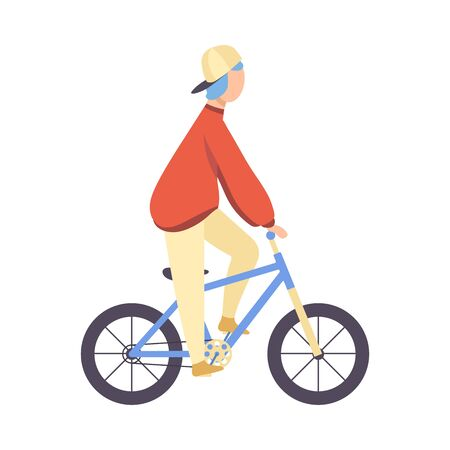Guy in Cap and Casual Clothes Riding Bicycle Vector Illustration Ilustrace