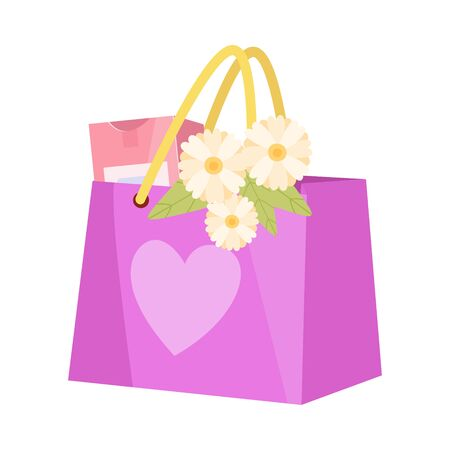 Paper Shopping Bag with Flowers and Gift, Present Package for Birthday, Xmas, Wedding, Anniversary Celebration Vector Illustration on White Background.