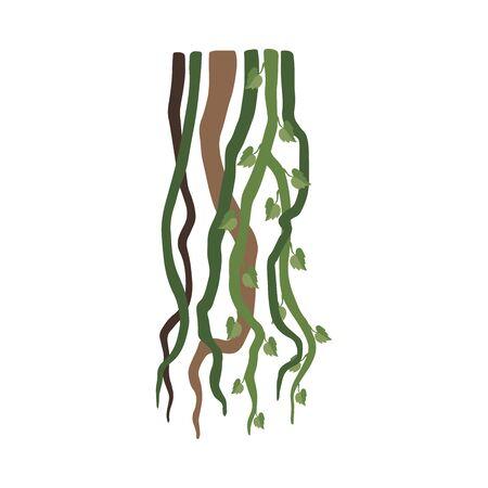 Liana Branches, Jungle Plant Decorative Element, Rainforest Flora Vector Illustration Zdjęcie Seryjne - 126999635