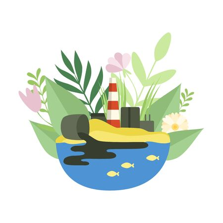 Nature Pollution Factory, Toxic Waste Dump, Ecological Problem, Environmental Pollution Vector Illustration on White Background.