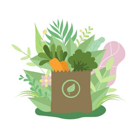 Paper Bag with Healthy Food, Eco Friendly Packaging Surrounded by Green Grass and Flowers Vector Illustration on White Background. Illustration