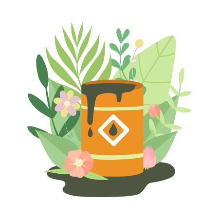 Barrel with Leakage of Oil Products Surrounded by Green Grass and Flowers, Ecological Problem, Environmental Pollution Vector Illustration on White Background.  イラスト・ベクター素材
