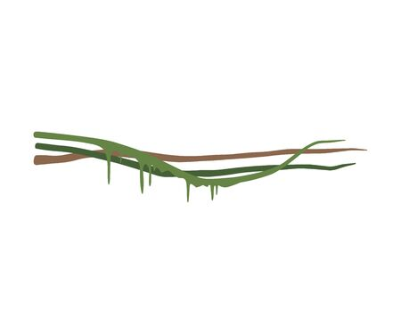 Wild Tropical Green Liana Stems with Leaves, Jungle Plant Decorative Element, Rainforest Flora Vector Illustration