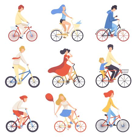People in Casual Clothes Riding Bicycles Set, Cycling Men and Women Exercising, Relaxing or Going to Work Vector Illustration