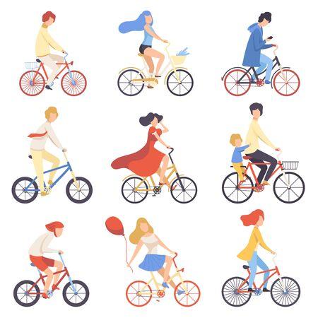 Personas en ropa casual montando bicicletas, ciclismo hombres y mujeres haciendo ejercicio, relajándose o yendo a trabajar ilustración vectorial