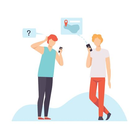 Two Young Men Communicating Using Smartphones, Guys Chatting Via Internet with Mobile Devices, Social Networking Vector Illustration on White Background.
