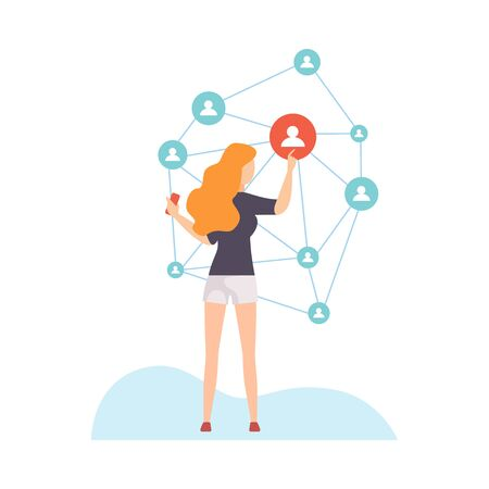 Girl Connecting All over the World, Young Woman Communicating Via Internet, Social Networking Vector Illustration on White Background.