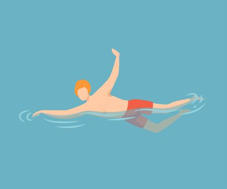 Young Man Swimming in Water, Guy Relaxing in the Sea, Ocean or Swimming Pool at Summer Vacation Vector Illustration, Flat Style Çizim