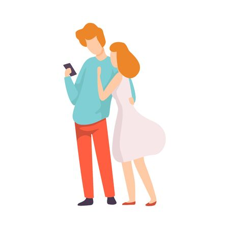 Couple in Love Talking to Each Other, Man Looking at His Smartphone Vector Illustration on White Background.