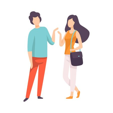 Young Man and Woman Dressed in Casual Clothing Talking, People Speaking to Each Other Vector Illustration on White Background. 일러스트
