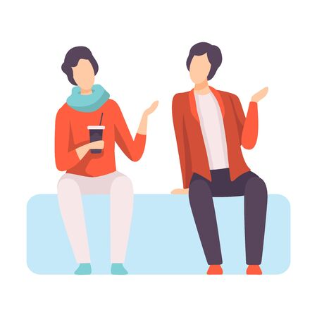 Two Young Men Dressed in Stylish Clothing Sitting on Sofa and Talking, People Speaking to Each Other Vector Illustration on White Background.