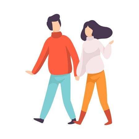 Young Couple Walking Holding Hands and Talking, People Speaking to Each Other Vector Illustration on White Background.