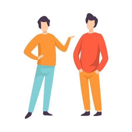 Due giovani uomini vestiti in abbigliamento casual in piedi e parlando, persone che parlano tra loro illustrazione vettoriale su sfondo bianco.