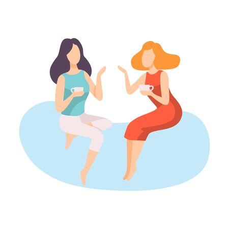 Zwei junge Frauen in stilvoller Kleidung sitzen und reden, Menschen sprechen miteinander Vector Illustration auf weißem Hintergrund. Vektorgrafik