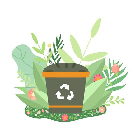 Grüner Papierkorb, umgeben von Gras und Blumen, Umweltschutz, Ökologie-Konzept-Vektor-Illustration auf weißem Hintergrund