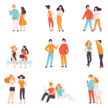 People Speaking to Each Other Set, Young Men and Women Dressed in Casual Clothing Talking Vector Illustration on White Background. Archivio Fotografico - 128165352