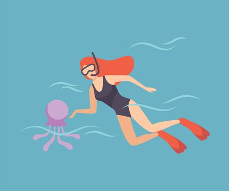Female Diver with Scuba and Flippers Diving in Sea, Girl Doing Sports and Relaxing at Summer Vacation Vector Illustration, Flat Style