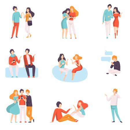Conjunto de personas hablando entre sí, hombres y mujeres jóvenes vestidos con ropa informal hablando y chismeando ilustración vectorial sobre fondo blanco.