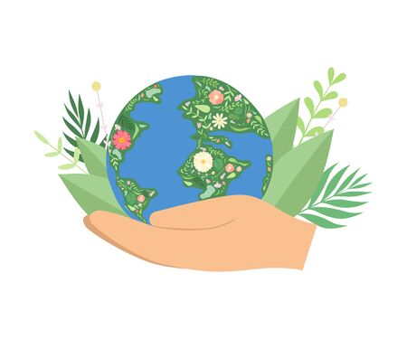 Human Hands Holding Flowering Earth Globe, Save the Planet, Environmental Protection, Ecology Concept Vector Illustration on White Background.