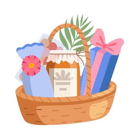 Holiday Present Basket Full of Gifts, Birthday, Xmas, Wedding, Anniversary Celebration Design Element Vector Illustration on White Background.