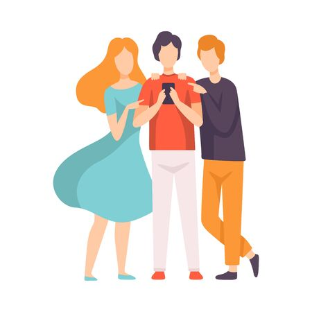 Three Friends Talking to Each Other Looking at Smartphone Vector Illustration on White Background.