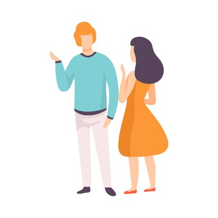 Young Man and Woman Talking, People Speaking to Each Other Vector Illustration on White Background.