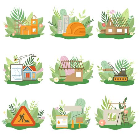 Construction Process Set, Houses, Cottages under Construction, Building Equipment in Spring or Summer Season with Blooming Flowers and Leaves Vector Illustration on White Background. Иллюстрация