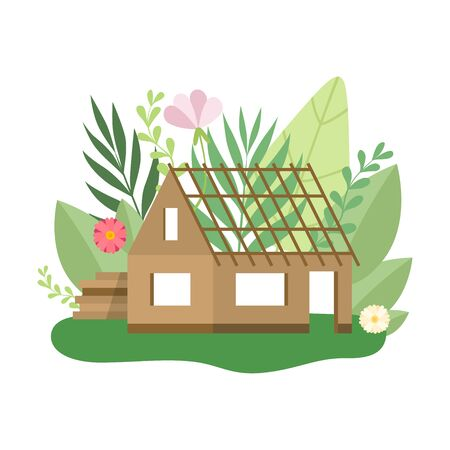 Process of Building Country House, Small Cottage in Spring or Summer Season with Blooming Flowers and Leaves Vector Illustration on White Background. Иллюстрация