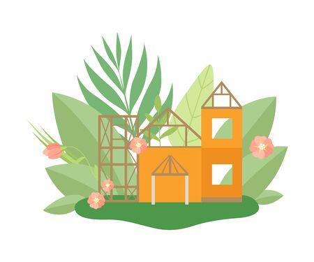 Haus im Bauprozess im Frühjahr oder Sommer mit blühenden Blumen und Blättern Vektor-Illustration auf weißem Hintergrund.