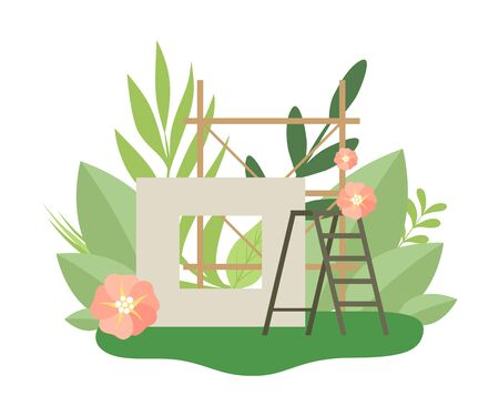 Process of Building House, Construction Panel and Ladder in Spring or Summer Season with Blooming Flowers and Leaves Vector Illustration on White Background.