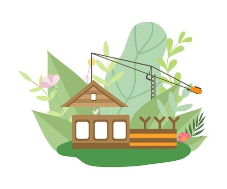 Process of Building Wooden House, Small Cottage under Construction and Crane in Spring or Summer Season with Blooming Flowers and Leaves Vector Illustration on White Background. Иллюстрация