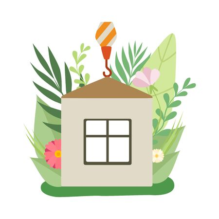 Process of Building House, Small Cottage under Construction in Spring or Summer Season with Blooming Flowers and Leaves Vector Illustration on White Background.
