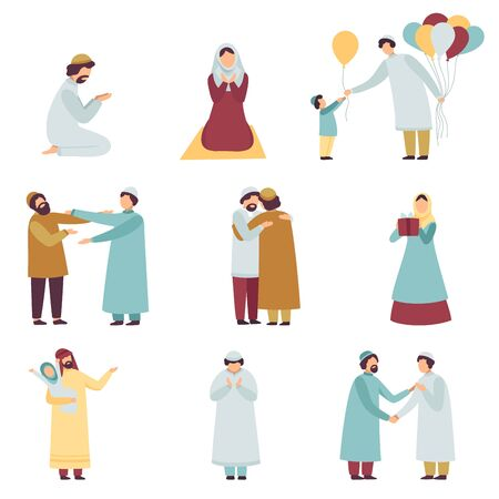 Popolo musulmano in abbigliamento tradizionale che celebra Eid Al Adha insieme di festa islamica, uomini e donne che pregano, salutandosi, dando doni illustrazione vettoriale su sfondo bianco Vettoriali