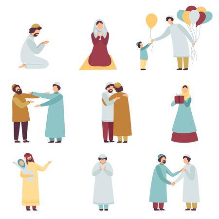 Pueblo musulmán en ropa tradicional celebrando el conjunto de vacaciones islámicas de Eid Al Adha, hombres y mujeres rezando, saludándose, dando regalos ilustración vectorial sobre fondo blanco Ilustración de vector