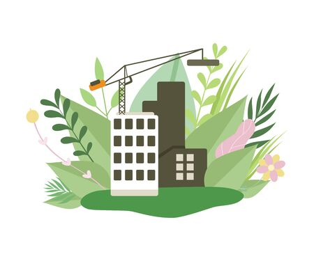 Multi Storey House in Construction Process, House under Construction and Crane in Spring or Summer Season with Blooming Flowers and Leaves Vector Illustration on White Background.