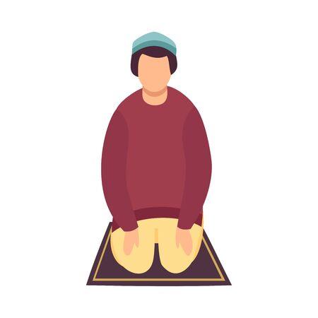 Muslim Man Praying on His Knees, Eid Al Adha Islamic Holiday , Front View Vector Illustration