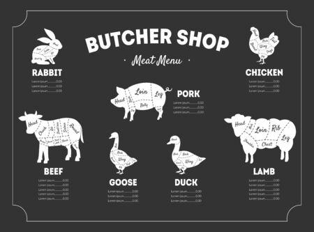 Butcher Shop Label, Meat Menu, Farm Animals and Poultry with Meat Cuts Lines, Vintage Vector Illustration, Web Design. Foto de archivo - 128165382
